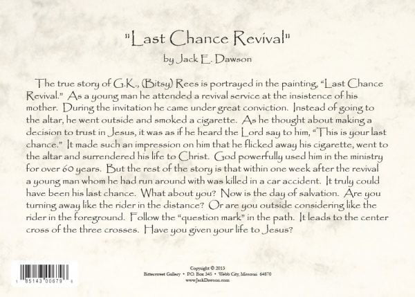 Last Chance 5x7 Card Back